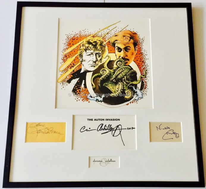 Jon Pertwee Nicholas Courtney Autograph Doctor Who Framed Artwork Signed Chris Archilleos